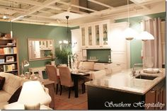 like the layout of the kitchen island, table, and buffet Ikea Kitchen, Kitchen Dining, Kitchen Island, Brown Kitchens, Southern Hospitality, Kitchen Colors, Hanging Lights, Built Ins, Sweet Home