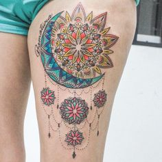 You can go big on color, even with a moon tattoo.