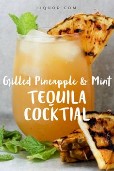 Grab that pineapple and a few mint leaves and whip up this tasty tequila drink. One sip and you'll be tasting summer. Tequila And Lemonade, Tequila Drinks, Summer Drinks, Fun Drinks, Beverages, Tequila Tasting, Pineapple Mint, Strawberry Wine, Thanksgiving Drinks