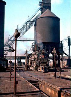 Pennsylvania Railroad J1a Class #6448 beside the coaling tower in Columbus, Ohio on November 2, 1957.