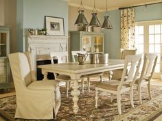 Cozy Cottage Style in Spice Up Your Dining Room With Stylish Slipcovers from HGTV