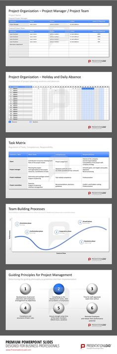 Project Management PowerPoint Templates: Give a detailed summary of the included employees, the time table and the tasks.  #presentationload  www.presentationl...