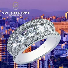 Celebrate a night to remember with this 14K White Gold Diamond #anniversary band.  This ring features a row of sparkling round #diamonds framed between rows of shared prong set round diamonds. Visit your local #GottliebandSons retailer and ask for style number 27266. http://www.gottlieb-sons.com/product/detail/27266