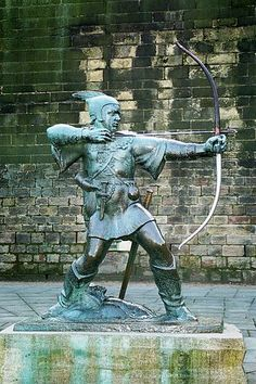 Robin Hood statue in Nottingham. Apparently, Robin Hood was a supporter of King Richard I the Lionheart and became an outlaw during the misrule of King Richard's brother King John. Walt Disney Animation, History Channel, Sheriff, Nottingham Robin Hood, Nottingham Castle, Statues, High Middle Ages, Sherwood Forest, Warrior Princess