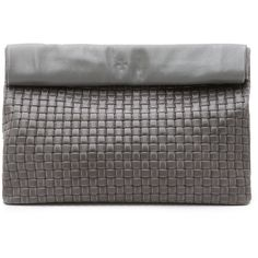 Marie Turnor Accessories Woven Lunch Clutch (€275) ❤ liked on Polyvore featuring bags, handbags, clutches, grey, woven handbag, pocket purse, real leather handbags, genuine leather handbags and grey leather purse
