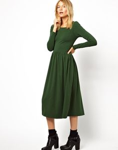 @asos.com  Midi Skater Dress With Long Sleeves
