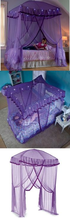 Canopies and Netting 176986 Large Bed Canopy Purple Lilac Pink Tier Ruffles Princess Style One Size Fits All -u003e BUY IT NOW ONLY $45.96 on eBay! & Canopies and Netting 176986: Large Bed Canopy Purple Lilac Pink ...
