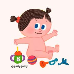 Baby by 굴리굴리 on Grafolio Family Illustration, People Illustration, Kid Character, Character Design, Family Poster, Baby Posters, Baby Cartoon, Kids Decor, Cool Artwork