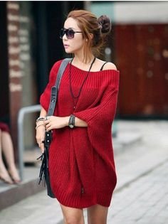 Korean Round Collar Women's Pullover Long Sweaters from BuyTrends.com