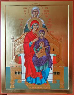 Anna, the Theotokos, Jesus Blessed Mother Mary, Blessed Virgin Mary, St Catherine Of Alexandria, Church Icon, Santa Ana, St Anne, Byzantine Icons, Holy Family, Orthodox Icons