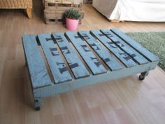 Shabby chic vintage apple crate distressed green coffee table on castors
