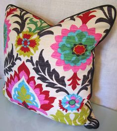 Decorative Pillow Covers in Santa Maria Desert Flower Fabric by Waverly. $39.00, via Etsy.