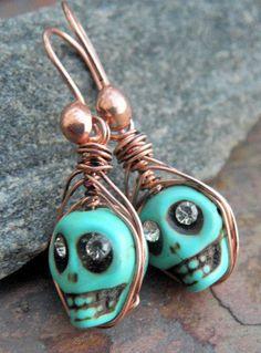Mystic Shruken Skulls Magnesite Turquoise by ThePurpleLilyDesigns, $18.00