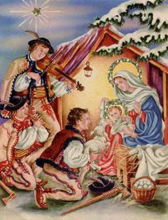 Vintage Christmas Cards, Christmas Pictures, Vintage Cards, Vintage Postcards, Vintage Holiday, Xmas Cards, Illustration Noel, Illustrations, Christmas Nativity