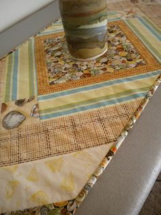 Beach Table Runner Seashell runner quilted table by SewEverAfter