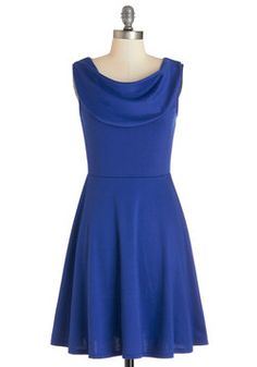 Everyday Accolades Dress in Cobalt. Its quite common for you to receive compliments when sporting this sleeveless, cowl-neck dress. #blue #modcloth