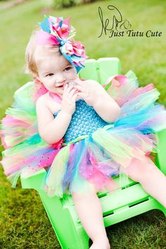 Green/Teal/Pink Tutu Dress with OTT matching Bow :)