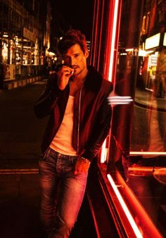 Red neon light ; must practice shots at night first #MensFashionEditorial
