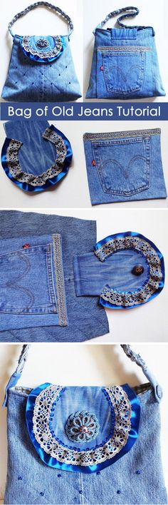 Handbag of old jeans with a strap. Pattern bags. DIY tutorial in pictures. Сумочка из старых джинсов http://www.handmadiya.com/2015/09/flap-bag-of-old-jeans-tutorial.html