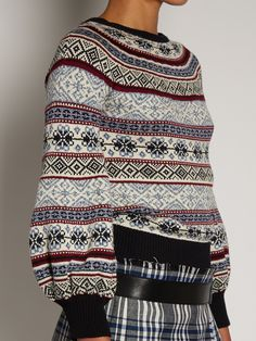 Click here to buy Alexander McQueen Fair Isle-jacquard balloon-sleeved sweater at MATCHESFASHION.COM
