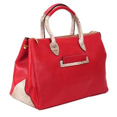 "Color options:  Red     Color Class: Red     Style:Satchel/ Top handle     Construction: 100% Genuine Leather     Exterior: Red leather with snake embossed leather trims and handles     Entry:  Top  entry with turn lock closure     Handles: Two top handles D:5"" , additional snake print leather shoulder strap     Bag dimensions:  W 14""x H10""x D7""     Exterior pockets:  one     Two zippered interior pocket and accessory pocket     Bottom feet: yes ..."