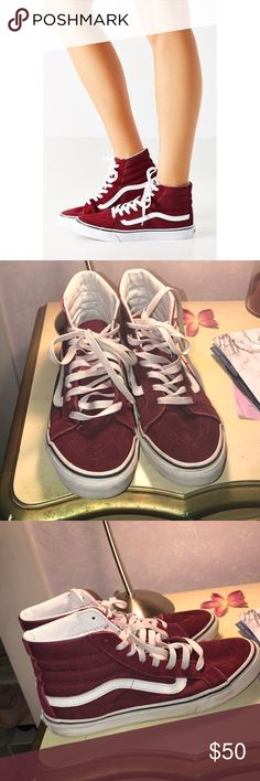 Maroon/Burgundy Sk8 Hi Vans Sk8 his slim these have been used but are still in great condition. Shows scuffing on rubber and laces but other than that these are EXCELLENT Vans Shoes Sneakers