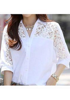 Women Clothing White Chiffon Lace Polo Shirts Plus Size Summer Shirt Size M Color 1 hashtags Blouse Styles, Blouse Designs, Look Fashion, Fashion 2018, White Lace, White Chiffon, Lace Chiffon, Ladies Dress Design, White Women