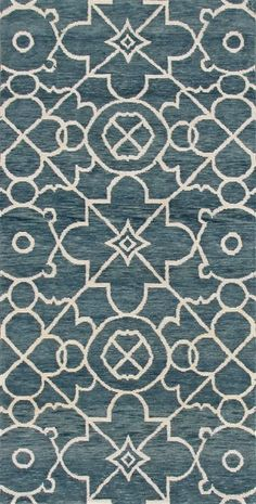 Castillera, stone/blue - In this transitional piece, a Spanish Colonial lattice design is bordered by an intricate combination of elements with a Moorish feel.  This rug features a heathered stone blue Tibetan wool background and an ivory Chinese silk and allo (a natural nettle fiber) design.  This piece has been crafted by hand in our 100 knot quality.