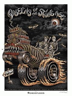 Emek's new poster for Queens of the Stone Ageprobably shouldn't be hung around children or in-laws (who knows, maybe they wouldn't notice), but it's pretty hi