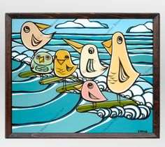 Six happy birds sharing a long ride on their surf boards by Hawaii artist Heather Brown