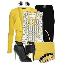 I love that!!! Matching yellow with black and white