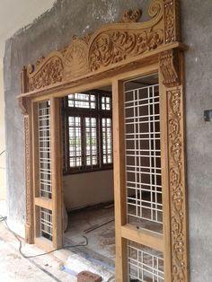 Indian Window Design, Indian House Exterior Design, Door Design Interior, Wooden Front Door Design, Double Door Design, Temple Design For Home, Home Building Design, Single Main Door Designs, Pooja Door Design