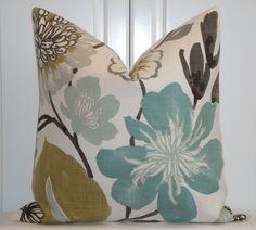 Decorative Pillow Cover - 22 x 22 - Throw Pillow - Accent Pillow - Teal - Aqua Green - Brown - Tan. $50.00, via Etsy.