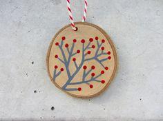 Dipinto a mano inverno ramo albero di Natale decorazione