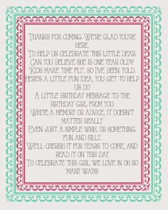 Fun printable Poem for a little girls first birthday guest book. Thewillynillyway.com