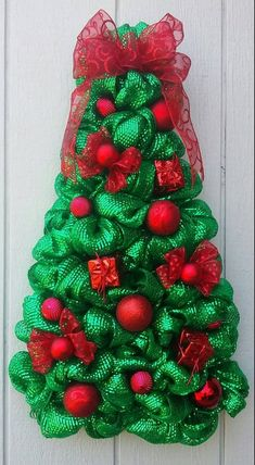 Metallic Green Deco Mesh Christmas tree wreath all Red ornaments and ribbons Wreath Wall or Door Decor by wreathswithclasses on Etsy Mesh Christmas Tree, Xmas Wreaths, Green Christmas, Christmas Trees, Metal Ornament Tree, Red Ornaments, Christmas Ornaments, Metal Tree, Handmade Christmas Decorations