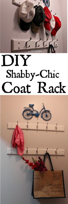 Need more coat storage? This handy DIY Shabby-Chic Coat Rack is the perfect solution to keep a small entry neat and tidy! Save hundreds of dollars by making these simple racks yourself! The project cost less than $40 and start to finish about 2 hours!