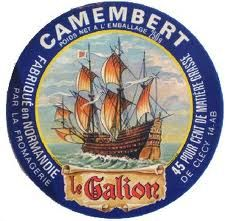 Vintage Cheese Label for Camembert Le Galion
