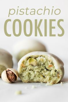 These Soft And Crumbly Pistachio Cookies Are Made From Real Pistachios And Topped With Brown Butter Icing The Cookie Dough Is Made From 6 Easy Ingredients And Requires Just 1 Mixing Bowl. Quick Cookies, Drop Cookies, Galletas Cookies, Cake Cookies, Fruit Cookies, Just Desserts, Dessert Recipes, Pistachio Cookies, Pistachio Recipes
