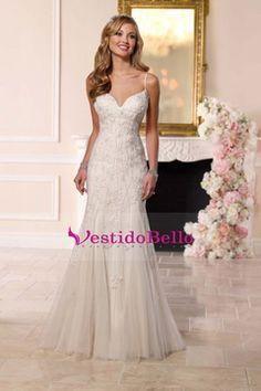 2016 correas de espagueti de la sirena de la boda vestidos de tul con apliques Y Granos tribunal tren US$ 269.99 VTOPFCJTXC6 - vestidobello.com