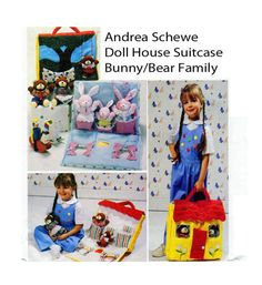 DOLL Carrying Case, Dollhouse, Stuffed Teddy Bear, Bunny Rabbit Toys, McCall's 4208, 620, Sewing Pattern, Children Toy House, Andrea Schewe