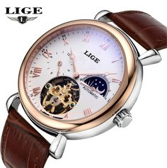 59.99$  Buy here - http://ali17n.worldwells.pw/go.php?t=32740223050 - Mens Watches Top Brand Luxury LIGE 2016 Men Watch Sport Tourbillon Automatic Mechanical Leather Wristwatch relogio masculino