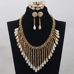 Magnificent Champagne Crystal New Design Nigerian African Wedding Bridal/Women Beads Necklace Jewelry Set Free Shipping ANJ189