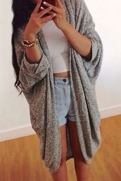 Open Front Batwing Sleeve Long Cardigan