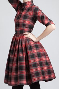 Shirtwaist Tartan Cotton Dress , I think this is a definite make for winter. Especially below the knee and a 50s style full circle skirt