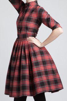Shirtwaist Tartan Cotton Dress