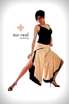 Wide Legs Open Side Reversible Pants 2 in 1 by SurRealClothing, $115.00