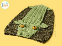 Alligator Crocodile Animal Sleeping Bag Crochet Pattern for boys and girls of all ages by IraRott