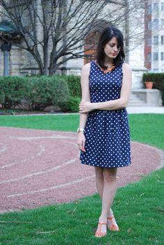 Pretty navy and white polka dots. #dress {Via Hallways are My Runways}