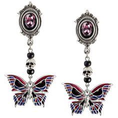 Alchemy Gothic Deaths Head Butterfly Stud Earrings